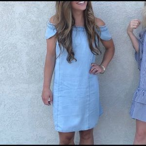 Chambray off-shoulders dress